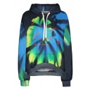Fancy Colorblocked Tie-Dye Long Sleeve Drawstring Hoodie