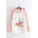 Winter Girls Japanese Strawberry Printed Flap Pocket Raglan Sleeve Oversized Thick Hoodie