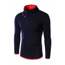Colorblocked Funnel Neck Button Decorated Long Sleeve Fitted Casual Sweatshirt