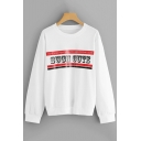 Simple SUCH CUTE Letter Print Long Sleeve White Pullover Hoodie