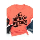 Funny DRINK UP WITCHES Letter Print Roll Short Sleeve Loose T-Shirt