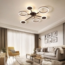 Multi-Ring Semi Flush Mount Light with Radial Design Modern Metal Led Ceiling Light Fixture