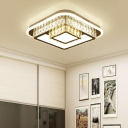 Contemporary Square Flush Ceiling Light Clear Crystal Led Close to Ceiling Light in White