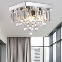 Luxurious Square Flush Ceiling Light with Clear Crystal Ball Metal LED Ceiling Lamp in Chrome for Bedroom