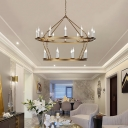 20 Lights 2 Tiers Chandelier Lighting Traditional Metal Gold Indoor Lighting for Living Room