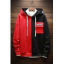 Mens New Stylish Colorblock Pocket Embellished Long Sleeve Loose Fit Casual Drawstring Hoodie