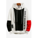 Mens Trendy Colorblock Letter SAILS GARMENTS Printed Long Sleeve Casual Loose Fit Drawstring Hoodie