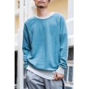 Mens New Fashion Simple Plain Long Sleeve Round Neck Casual Comfortable Sweatshirt