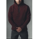 Mens Simple Fashion Logo Embroidered Long Sleeve Half-Zip Casual Sports Hoodie
