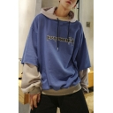 Mens New Fashion Letter Printed Colorblock Drawstring Hooded Long Sleeve Fake Two-Piece Casual Oversized Pullover Hoodie