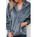 Women's Fashion Warm Fluffy Teddy Stand-Collar Half-Zip Long Sleeve Plain Sweatshirt