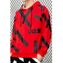 Men's New Style Cool Print Long Sleeve Casual Loose Drawstring Pullover Hoodie