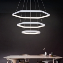 Modernism Hexagon Hanging Lighting Metal Integrated Led White Chandelier Lamp in Second Gear