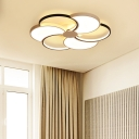 Floral Flush Mount Ceiling Light Modernism Integrated Led Metal Flush Light with Diffuser