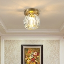 Crystal Shade Ceiling Lamp Modern 1 Head Ceiling Light in Brass for Living Room Bedroom Corridor Kitchen