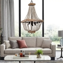 4 Lights Beaded Pendant Lamp French Country Wooden Chandelier Light with Metal Chain in Black