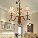 Rustic Chandelier Lighting with Scalloped Fabric Shade 22