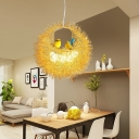 Gold Nest Hanging Lamp 6 Lights Decorative Metal Chandelier Lighting with Bird and Egg Glass Shade