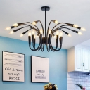 24 Lights Abstract Chandelier Lighting Modern Metal Black Hanging Ceiling Light for Living Room