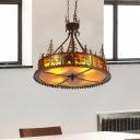 Bronze Round Ceiling Chandelier Village Industrial 3 Lights Mica Shade Hanging Lamp