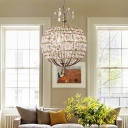 Traditional Spherical Hanging Lamp 4 Lights Crystal Chandelier in Bronze for Foyer