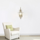 Luxurious Lantern Shape Wall Lamp with Crystal Decor Metal 1 Light Champagne  Sconce Light for Hotel