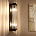 Tube Hallway Bedroom Wall Light Clear Crystal 2 Lights Modern Sconce Lamp in Black
