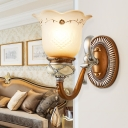 European Style Blossom Wall Lamp with Teardrop Crystal Frosted Glass 1/2 Lights Sconce Light for Restaurant