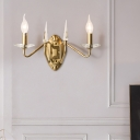 Iron Candle Wall Light Bedroom Dining Room 2 Heads Mid Century Sconce Light in Gold