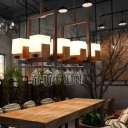 Rustic Linear Pendant Lamp 8 Bulbs Milk Glass and Wood Island Lighting for Restaurant with/without Wine Glasses