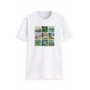 Art Oil Painting Collage Short Sleeve Round Neck Casual T-Shirt in White