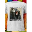 Funny Gorilla Monkey Letter WHEN YOU THINK FRIDAY Printed Short Sleeve White Tee