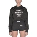 Fashionable Reflective Letter VIBES Patchwork Mock Neck Long Sleeve Plain Crop Sweatshirt