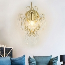 Metal Flower Wall Lamp with Crystal Bead Bedroom Hallway 1 Light Luxurious Sconce Light in Gold