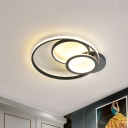 Metal Halo Ring Flush Mount Lighting Minimalist Led Ceiling Flush Lamp in Black/White