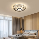 Contemporary Rings Flush Mount Light Metal Multi Light Black Flush Ceiling Light in Warm/White, 16