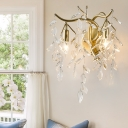 Clear Crystal Wall Sconce Light Vintage 2 Lights Gold Wall Mount Lamp for Corridor