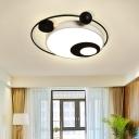 Square/Round Flushmount Modern Vintage Metal Led Black/White Flush Lighting in Warm Light with Diffuser