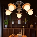 Orb Hanging Ceiling Light with Wooden Cap Nordic White Glass 5 Lights Pendant Light