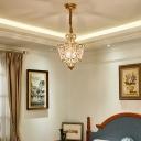 Gold Lantern Hanging Pendant Lamp 2 Lights Metal and Crystal Suspension Light for Bedroom