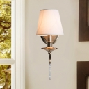 1/2-Bulb Conical Wall Light with Crystal Decoration Lodge Wall Lighting Fixture in Gold Finish
