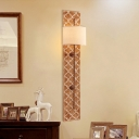 Vintage Cylinder Flush Wall Sconce Fabric 2 Heads Living Room Wall Lamp with Rectangle Backplate in Rust Finish