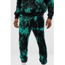 Mens Unique Green and Black Tie Dye Print Drawstring Waist Skinny Jogger Pants