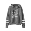 Fashion Letter JUGHEAD JONES WUZ HERE Print Long Sleeve Drawstring Hoodie