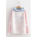 Cute Bear Printed Color Block Stripe Long Sleeve Graphic Hoodie for Girl