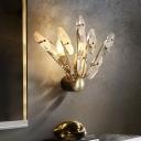 Sputnik Crystal Wall Light Sconce Minimalism 2-Bulb Sconce Light with Metal Backplate in Brass