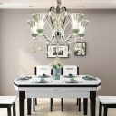 Clear Ribbed Glass Flared Chandelier Light Modern 5 Lights Living Room Pendant Lighting in Green