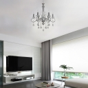 Contemporary Candle Chandelier Lighting with Clear Crystal Prisms 6 Lights Metal Living Room Pendant Lamp