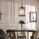 Clear K9 Crystal Cylinder Pendant Lamp 1 Bulb Modernism Hanging Ceiling Light in Black with Metal Chain