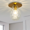 Pear Shaped Dimple Glass Flush Mount Lamp Nordic 1 Light Clear Flush Mount Light Fixture for Living Room